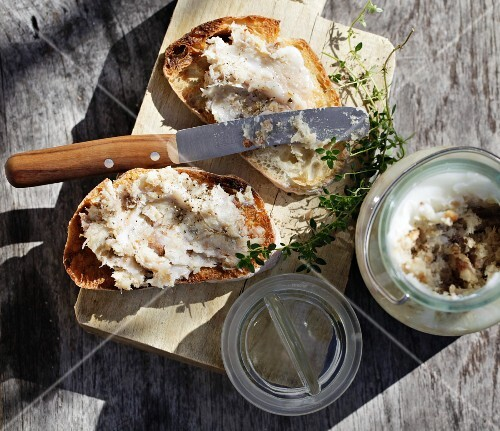 Rabbit rillette on grilled white bread
