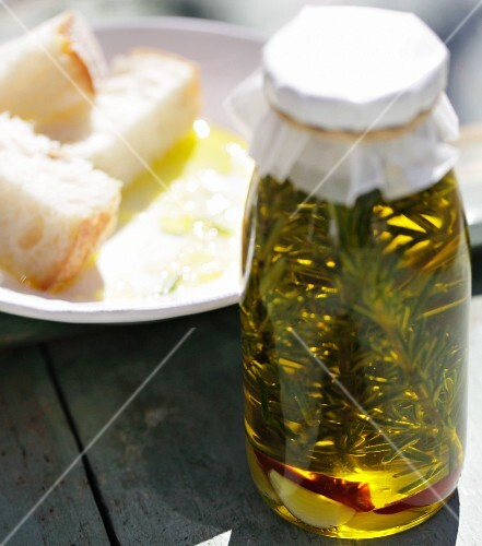 Homemade chilli oil with rosemary