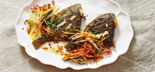 Plaice with spicy bacon and julienned vegetables