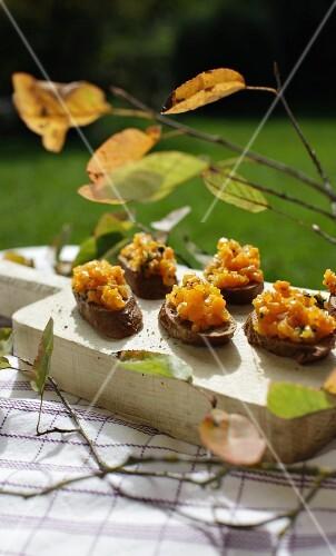 Autumnal pumpkin bruschetta
