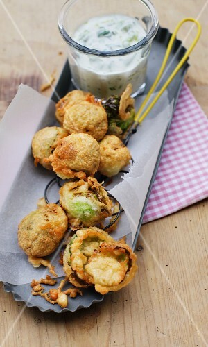 Crispy fried Brussels sprouts in beer batter
