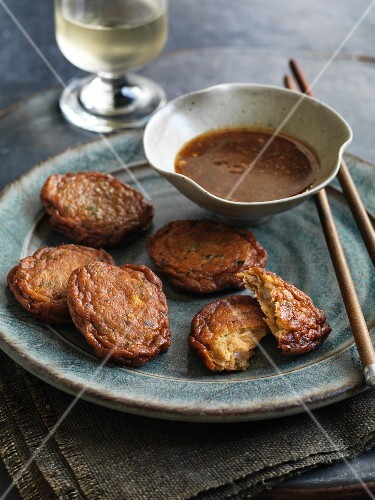 Fish cakes with sauce (Thailand)
