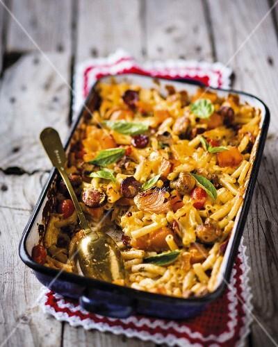 Macaroni and Cheese mit Gemüse & Wurst