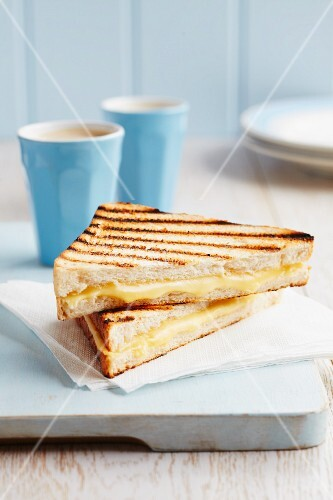 A toasted Emmental cheese sandwich