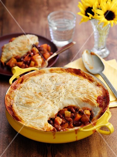 Bean pie in a pie dish