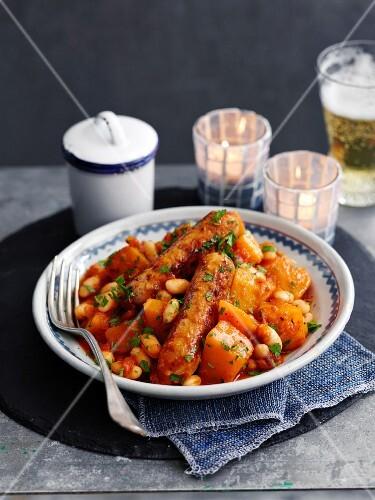 Bean stew with sweet potatoes and sausage