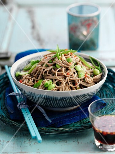Soba noodle salad with broad beans