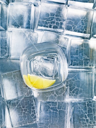 A glass of vodka with lemons on ice cubes
