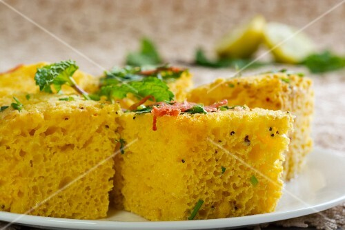 Khaman Dhokla - steamed chickpea flour cake (India)