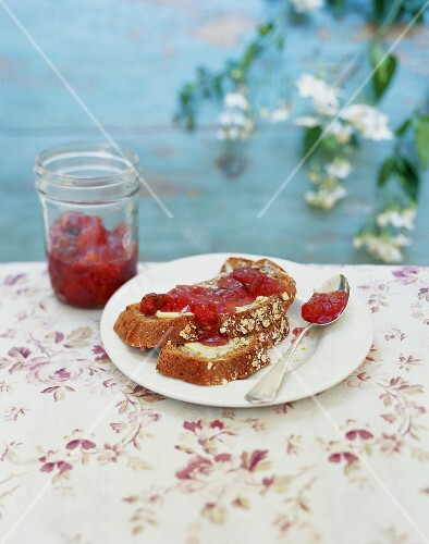 Bread and jam on a garden table