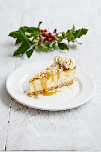 A slice of banoffee cheesecake with caramel sauce