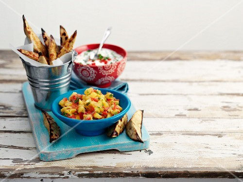 Fried sweet potato wedges with dips