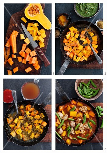 Turkey curry with butternut squash being made