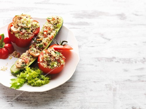 A trio of vegetables filled with quinoa sprouts