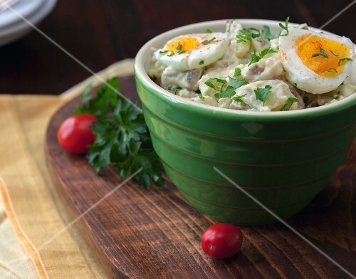 Potato salad with hard-boiled eggs and parsley