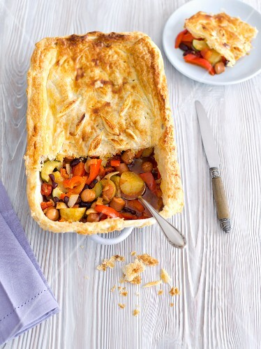 Sausage, vegetable and kidney bean bake with a puff pastry topping