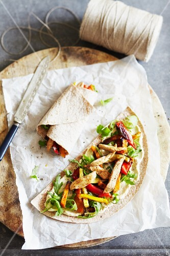 Grilled chicken, rocket and roasted pepper wrap