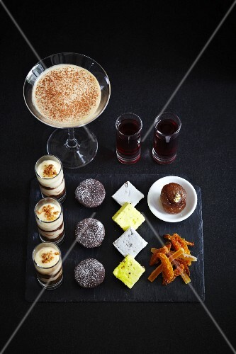 Various luxury deserts, and espresso Martini and liqueur