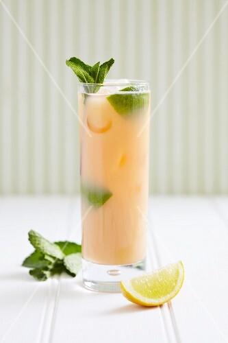 Elderflower Cooler with rum, lemon, honey and mint leaves