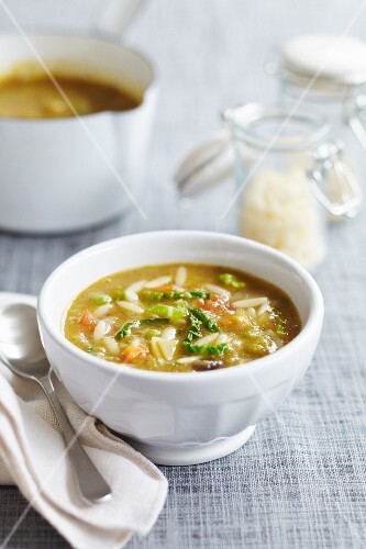 Orzo pasta soup with cabbage and carrots