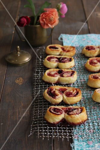Palmiers with strawberry jam