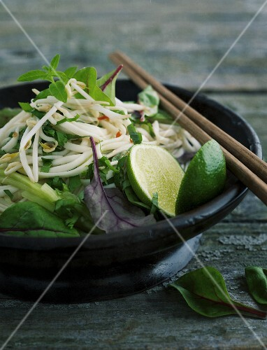 Rice noodle salad with limes (Asia)