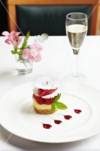 A mini raspberry cheesecake