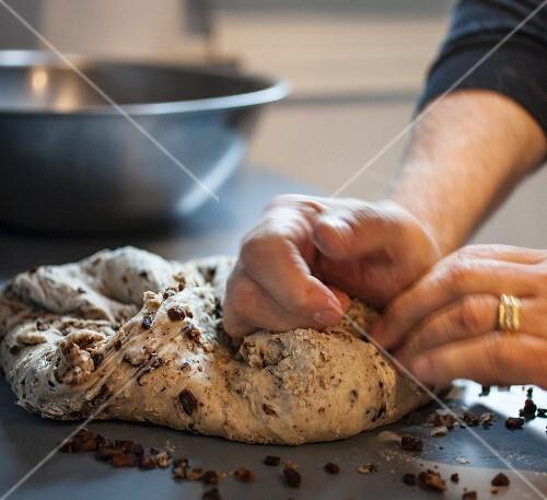 Hands kneading bread dough to make walnut and raisin bread (Italy)