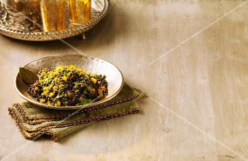 Green lentil salad with a ginger and pepper salsa