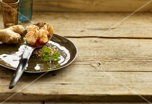 Ginger prawns with toasted sesame seeds