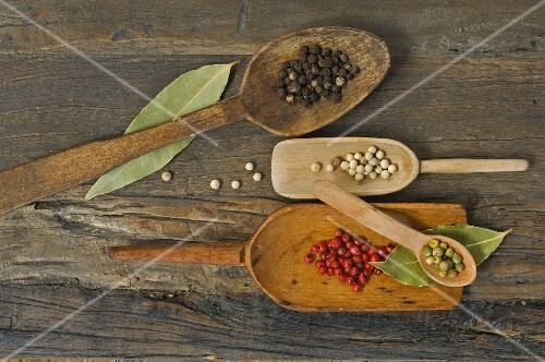Various types of pepper on wooden spoons with bay leaves on a wooden surface