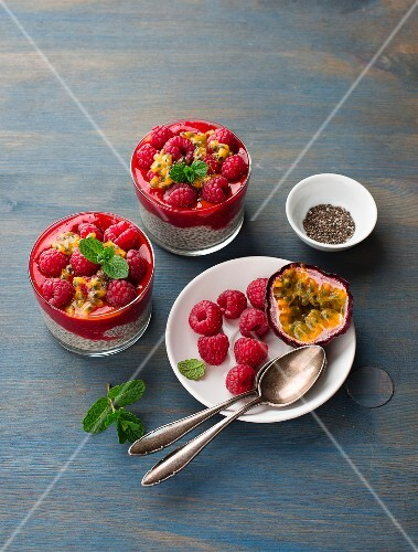 Chia pudding with raspberries and passion fruit