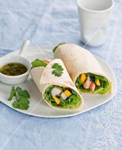 Shrimp and mango wraps