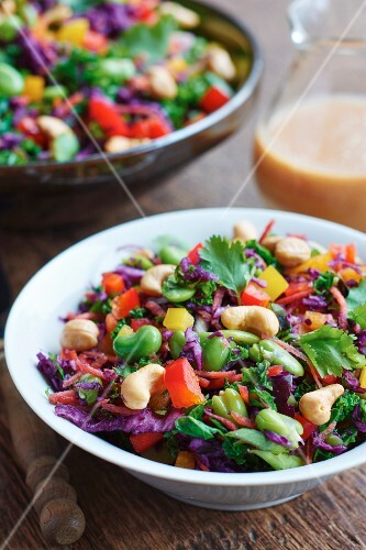 Raw vegetable salad with red cabbage, green kale, fava beans, cashew nuts and coriander (Asia)