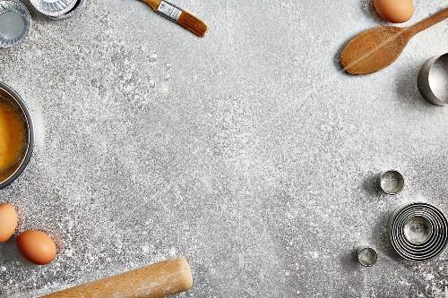 An arrangement of baking utensils and ingredients