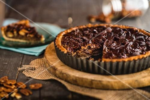 Pecan nut and maple caramel tart