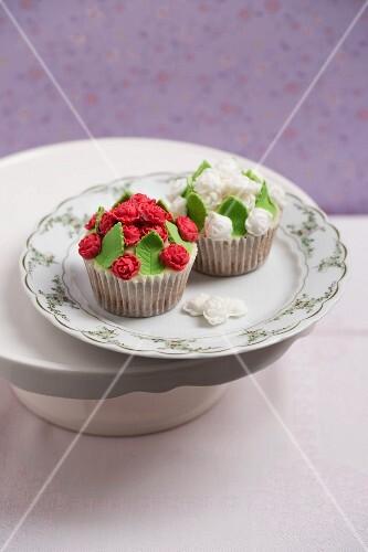 Cupcakes with rose petal fondant
