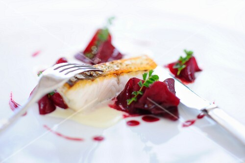 Loup de Mer with beetroot