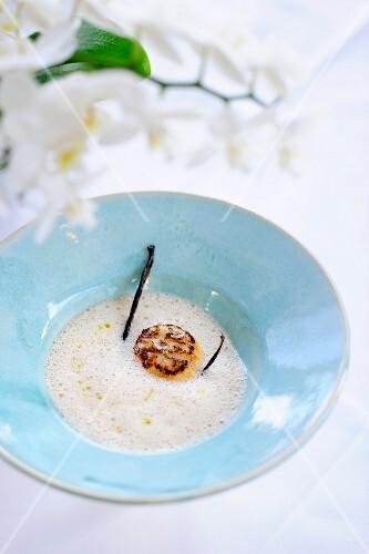 Foamy chestnut soup with scallops and vanilla