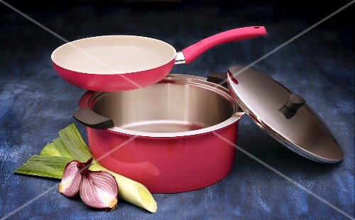 Kuhn Rikon set of pans: a ceramic coated frying pan and stainless steel pot in pink