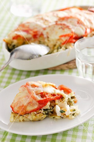 Egg lasagne with tomatoes