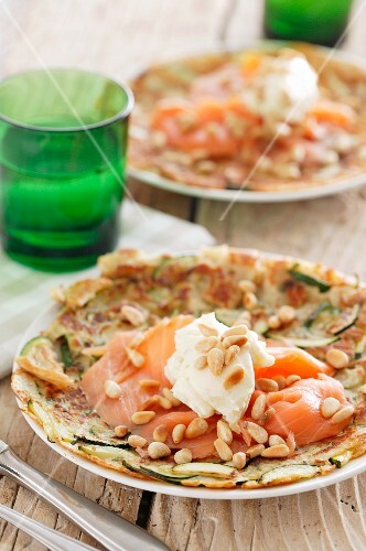 A salmon pancake