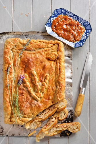 Chicken pie with lavender, sliced (Portugal)