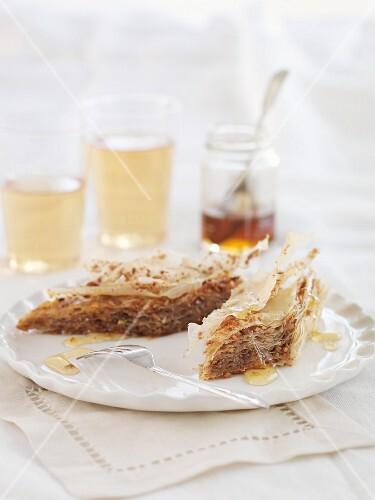 Baklava with honey