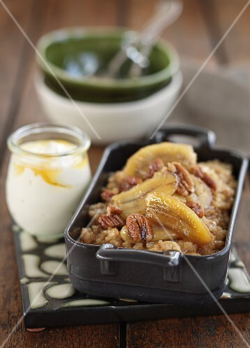 Banoffee rice pudding with pecan nuts