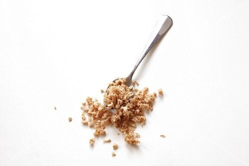 Chopped soya on a spoon (seen from above)