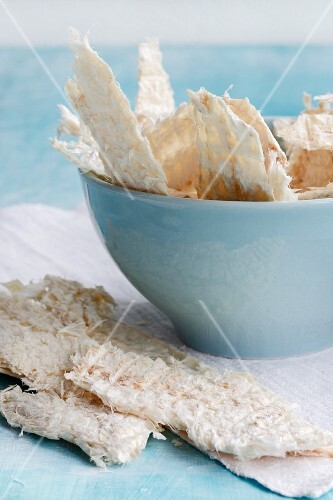 Dried Icelandic cod in a light blue bowl