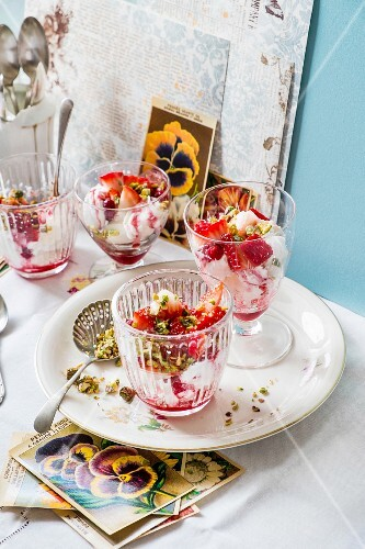 Eton Mess with strawberries and pistachios