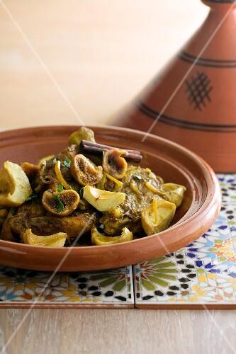 Lamb tagine with artichokes, figs and cinnamon