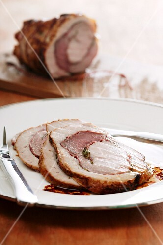 Veal roulade, sliced